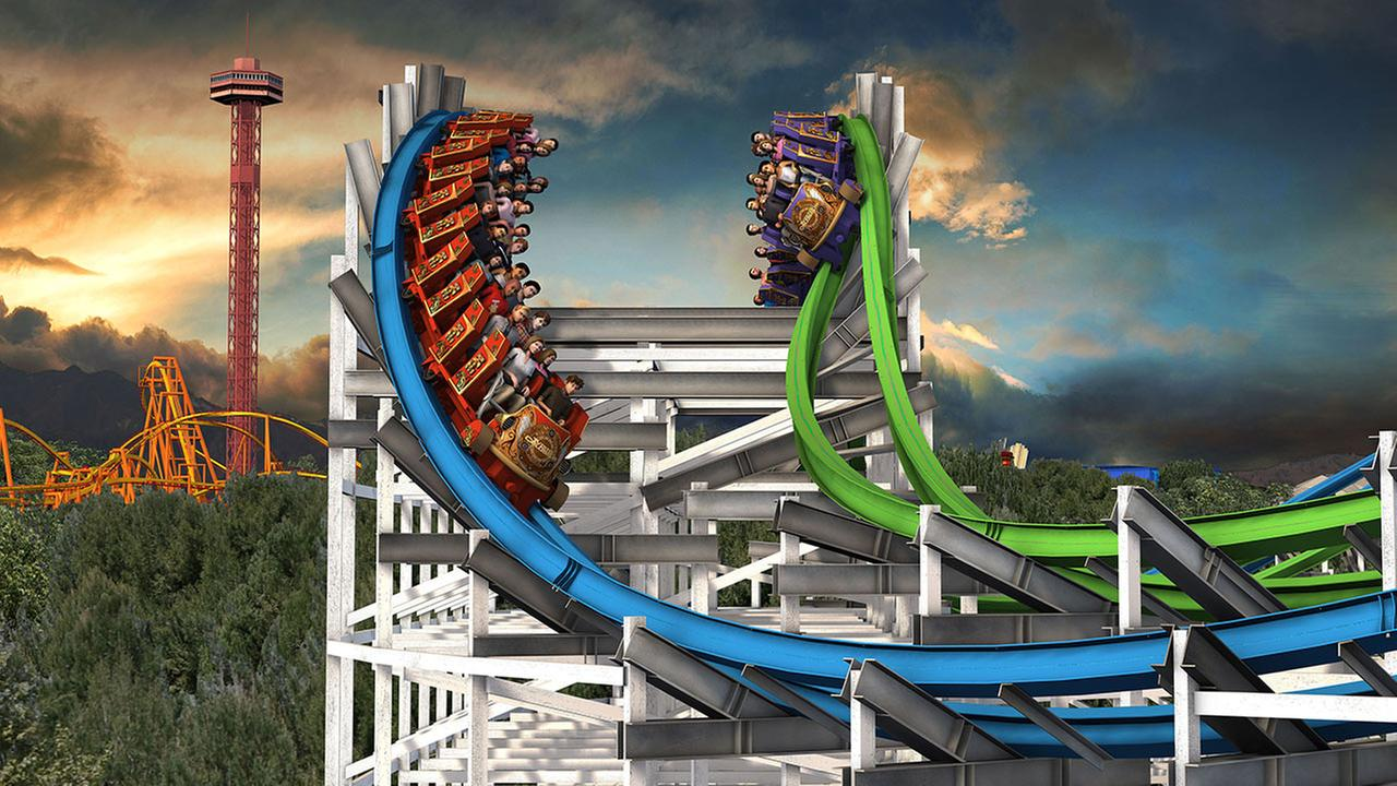 At one point during the four-minute ride, Twisted Colossus gives the illusion that riders can high-five each other.Six Flags Magic Mountain