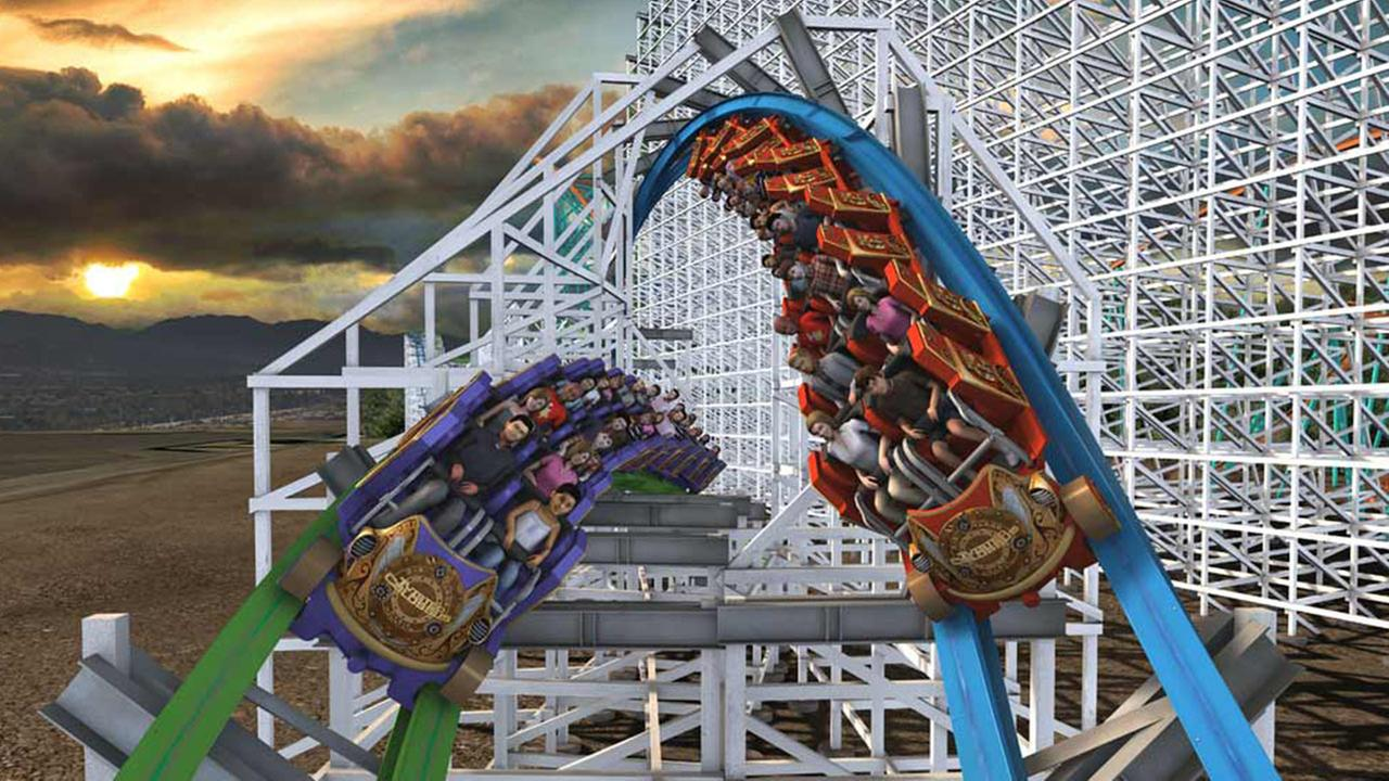 Riders turn to face each other on Twisted Colossus.Six Flags Magic Mountain