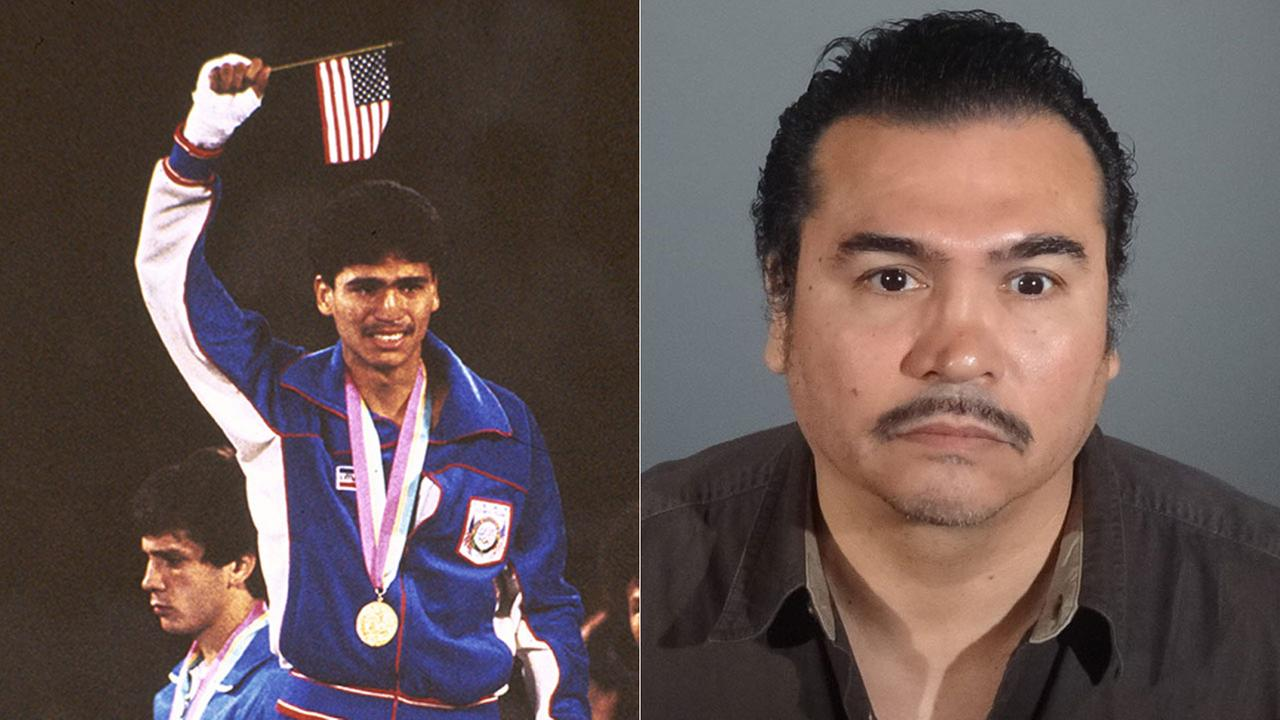 Boxer Paul Gonzales pictured after winning the gold medal at the 1984 Olympics in Los Angeles (left) and in a recent booking photo.