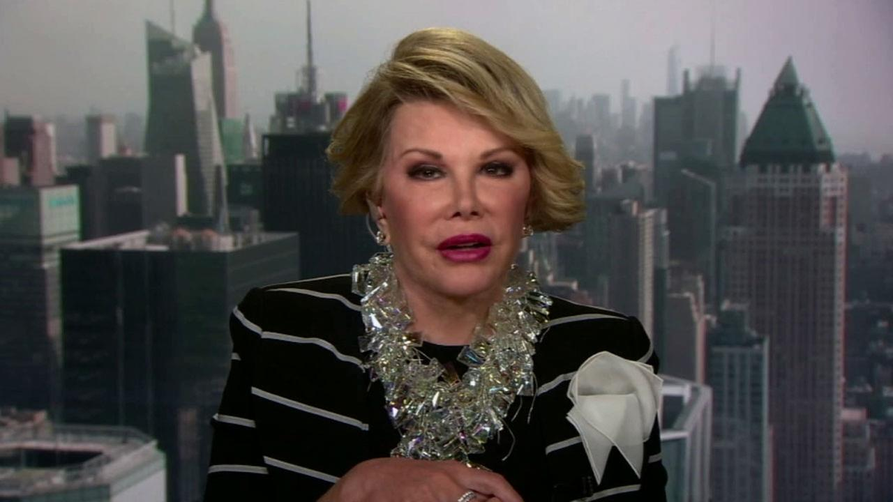 Joan Rivers appears in this undated file photo. She remained in serious condition at Mount Sinai Hospital in New York City Friday, Aug. 29, 2014.