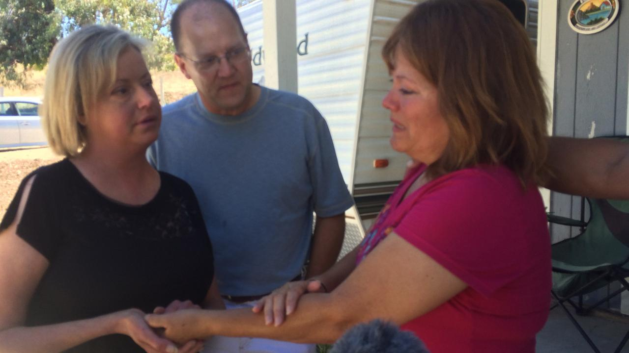 Emily Kachulis, left, meets Vicky Patino, right, for the first time on Friday, Aug, 29, 2014, after Kachulis received the heart and lungs of Patinos son.