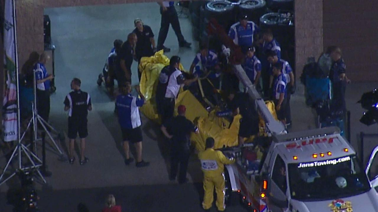 IndyCar driver Mikhail Aleshin was hospitalized Friday, Aug. 29, 2014 following a multiple-car crash during the final practice session for the IndyCar race at Auto Club Speedway.