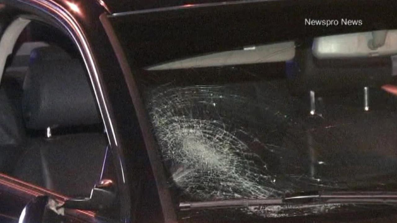 The windshield of a car involved in a crash that killed a 40-year-old woman and injured her daughter was cracked on Saturday, Aug. 30, 2014.
