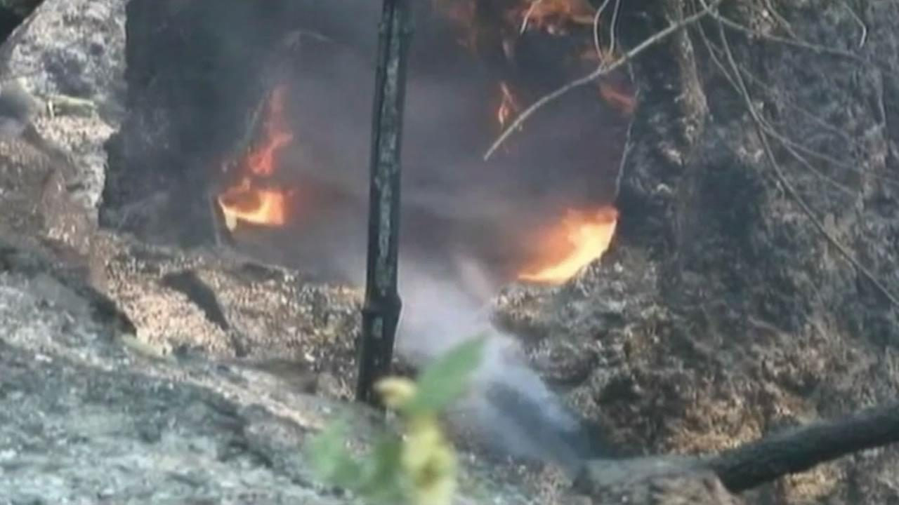 Crews battle fires burning in the Klamath National Forest, near the gold mining and logging town of Happy Camp.