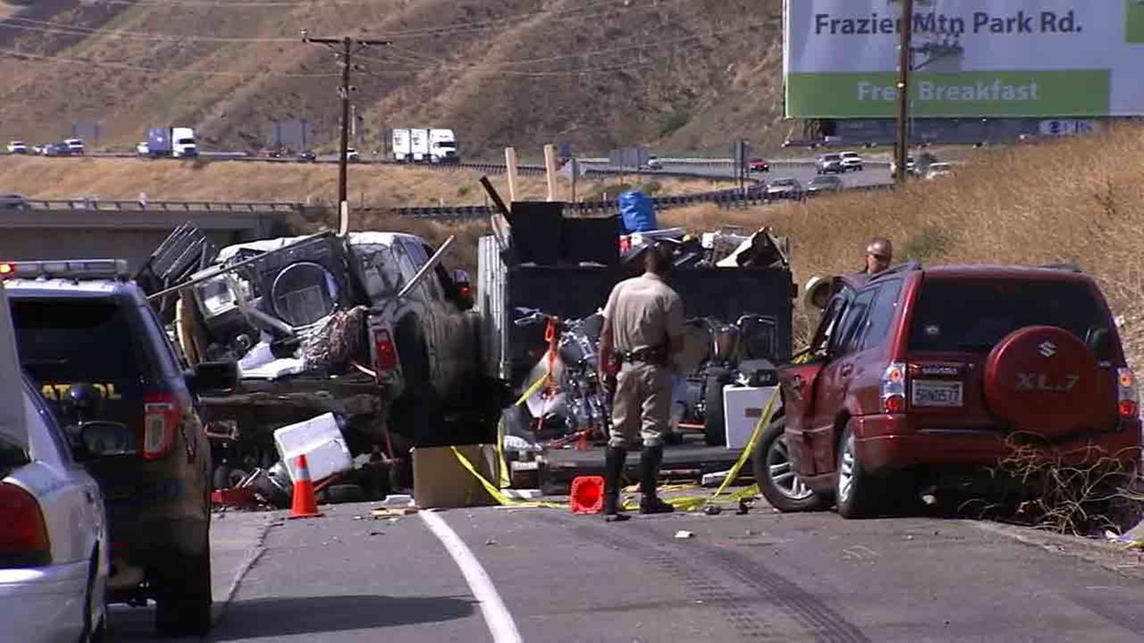 A woman was killed in a multi-vehicle crash on the 5 Freeway north of Lake Hughes Road in Castaic on Sunday, Aug. 31, 2014.