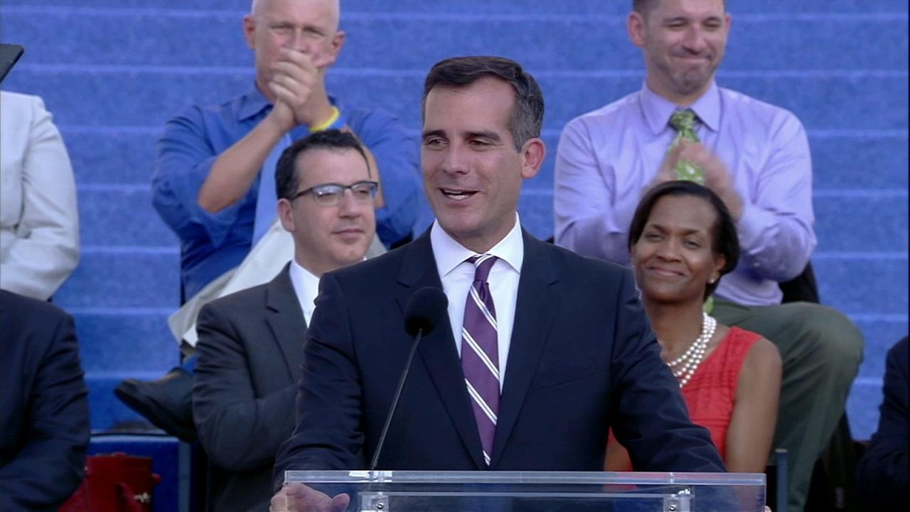 Los Angeles Mayor Eric Garcetti is seen in this undated file photo.