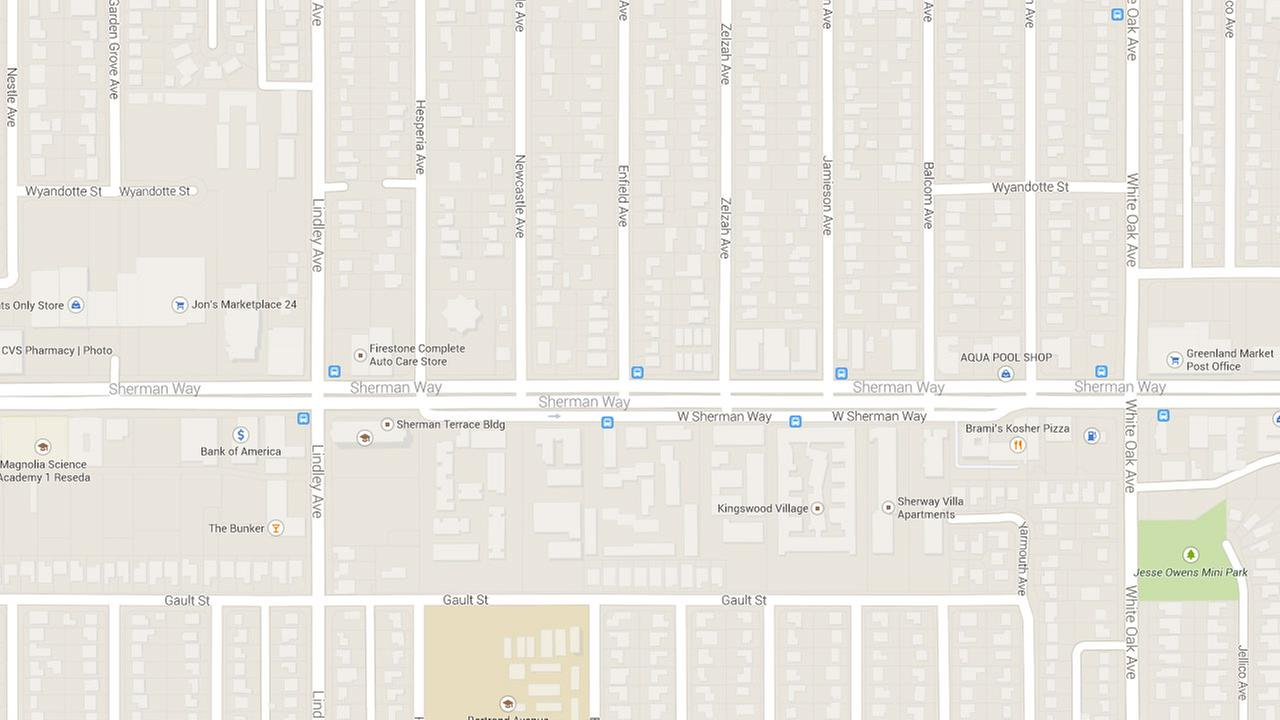 A map indicates the area near Sherman Way and Enfield Avenue where a male motorcyclist was killed Monday, Sept. 1, 2014.