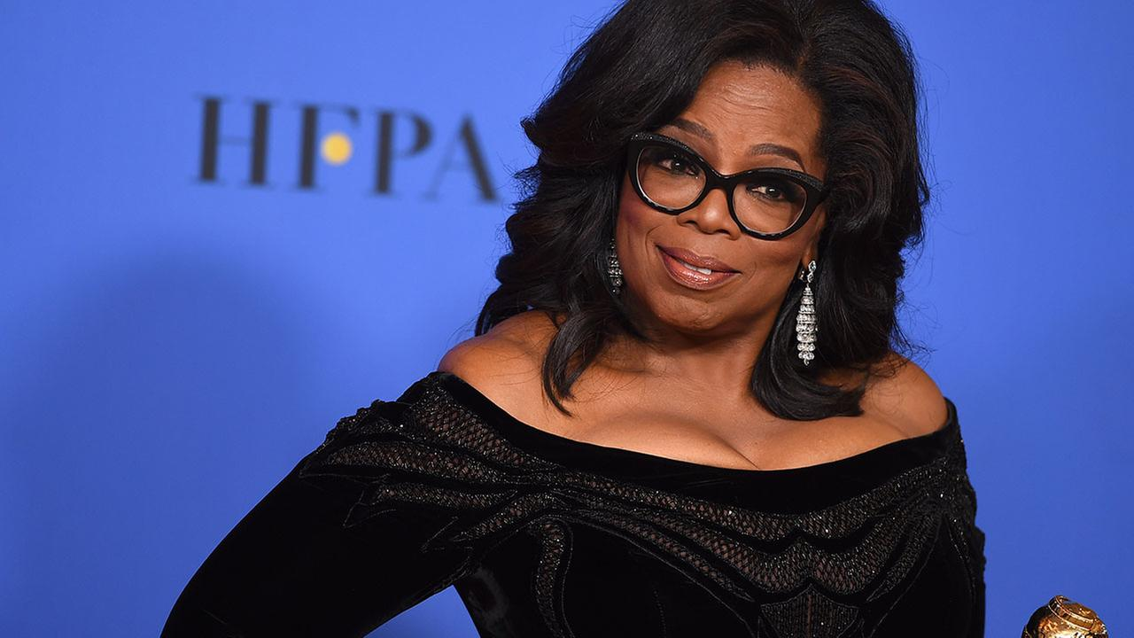 Oprah Winfrey poses backstage with her lifetime achievement award at the 75th annual Golden Globe Awards at the Beverly Hilton Hotel on Jan. 7, 2018, in Beverly Hills.