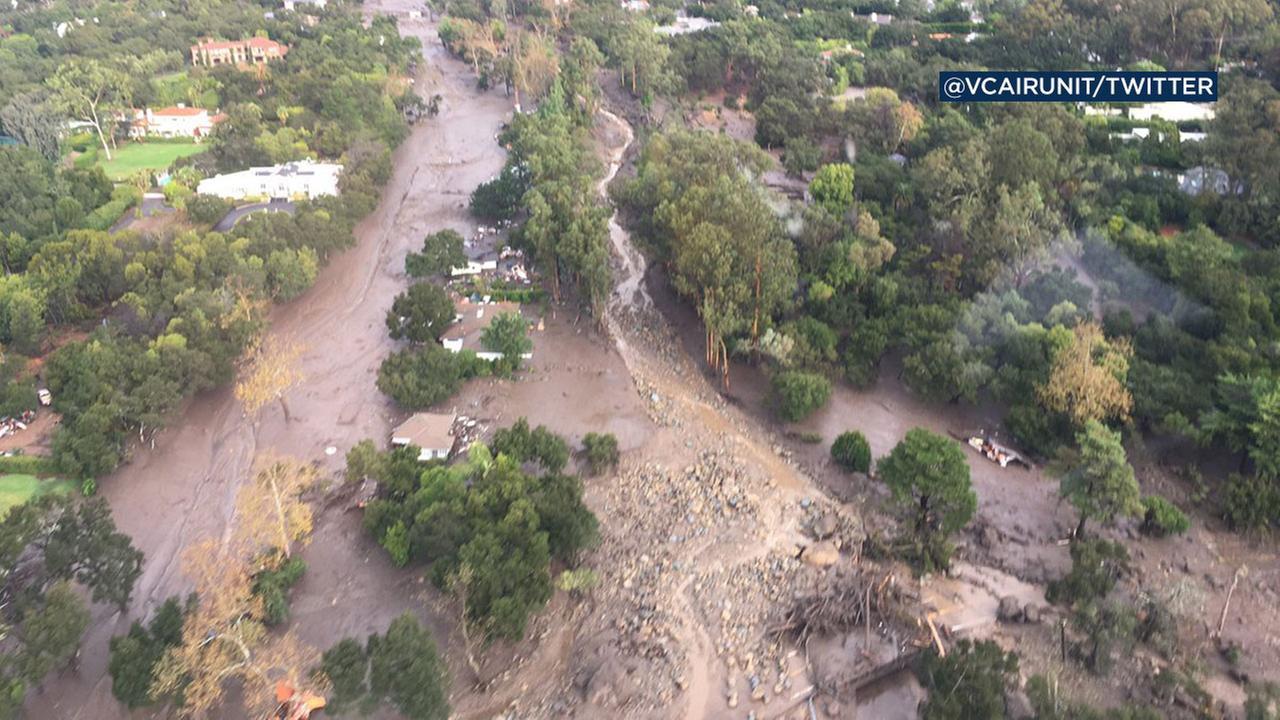 Ventura Countys air rescue squad captured dramatic images of flooding in Montecito.Ventura County Air Unit