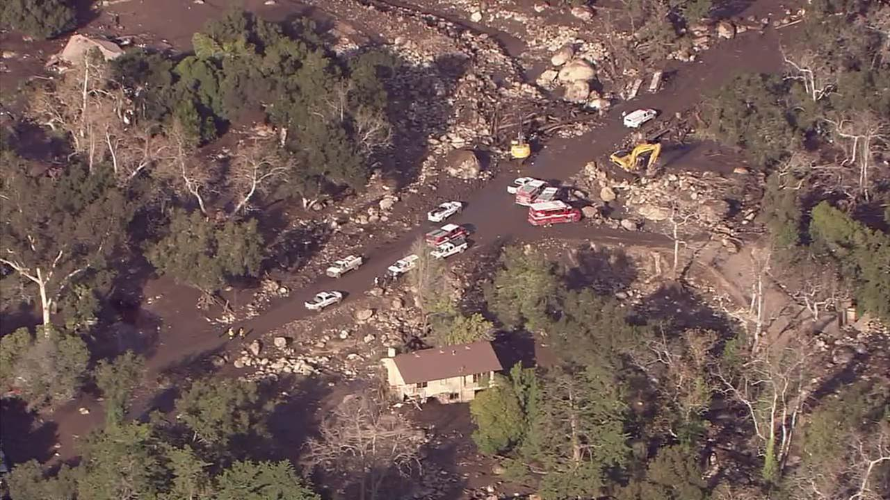 Emergency vehicles are seen in Montecito, which was inundated with deadly mudslides following heavy rain.