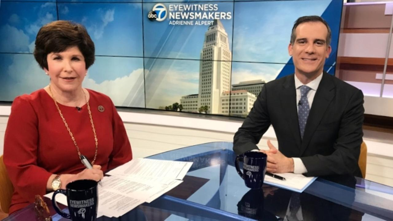 Los Angeles Mayor Eric Garcetti speaks with Adrienne Alpert during an episode of Eyewitness Newsmakers.