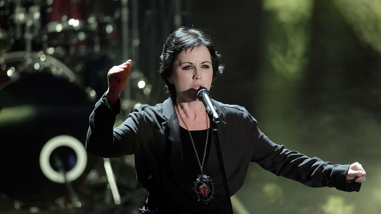 Dolores ORiordan, frontwoman of Irish softrock group Cranberries performs during the 62nd edition of the Sanremo Song Festival, in Sanremo, Italy, Saturday, Feb. 18, 2012.