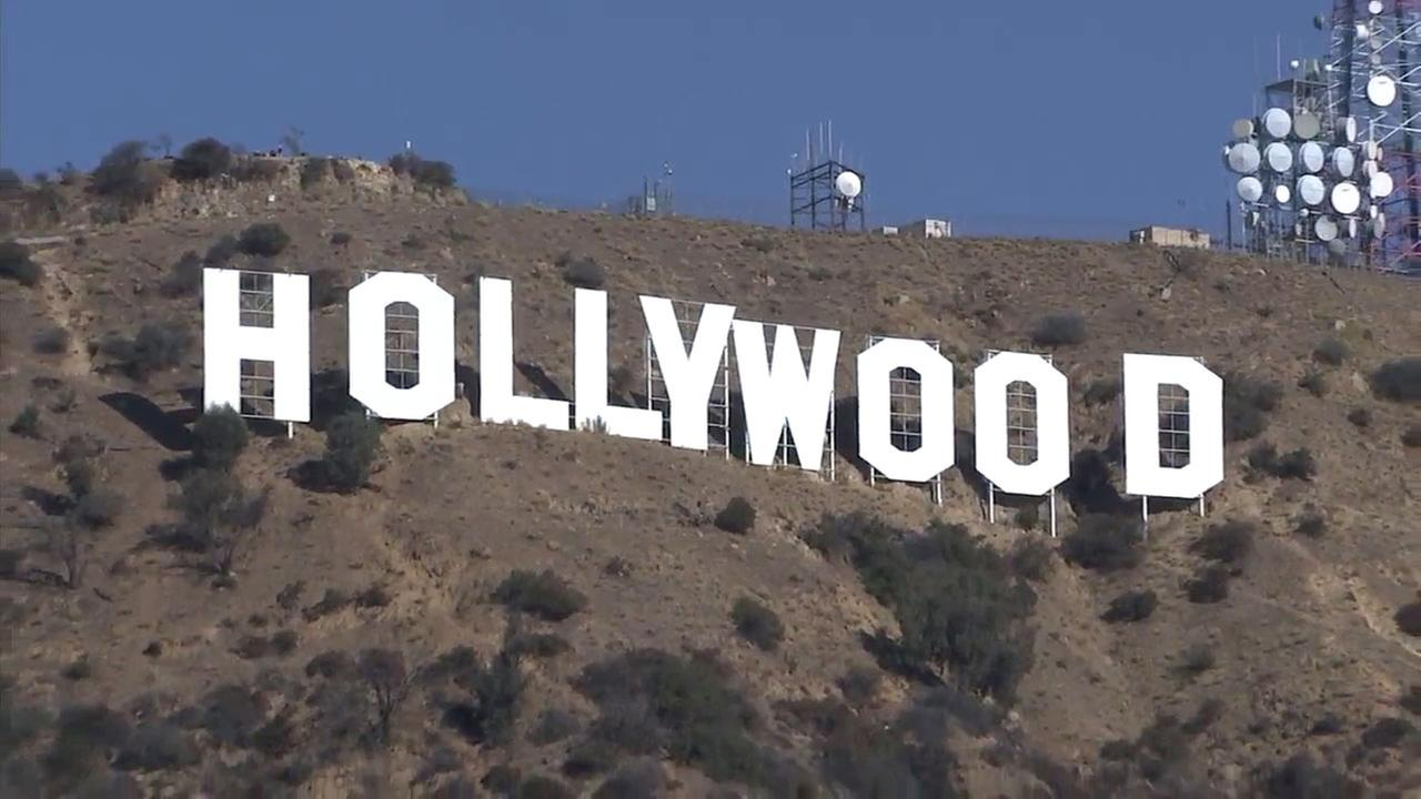 An aerial view of the landmark Hollywood sign.