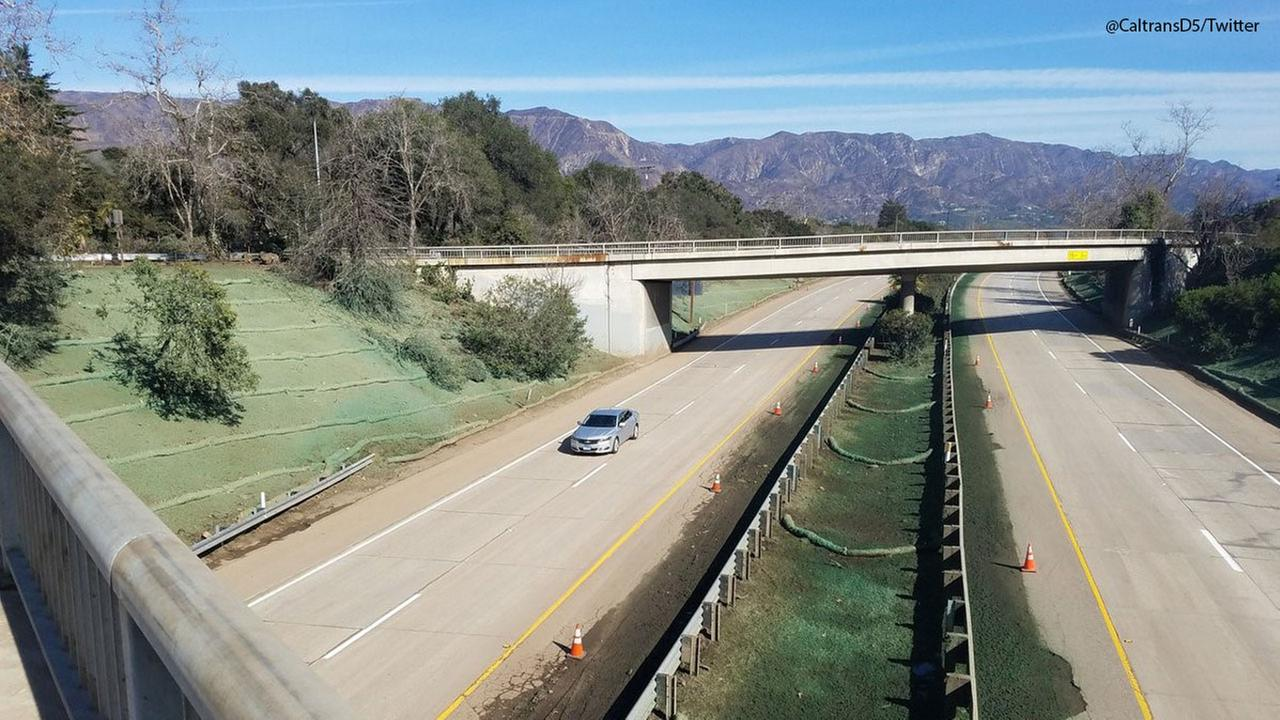 The 101 Freeway in Montecito seen back open on Sunday, Jan. 21, 2018.