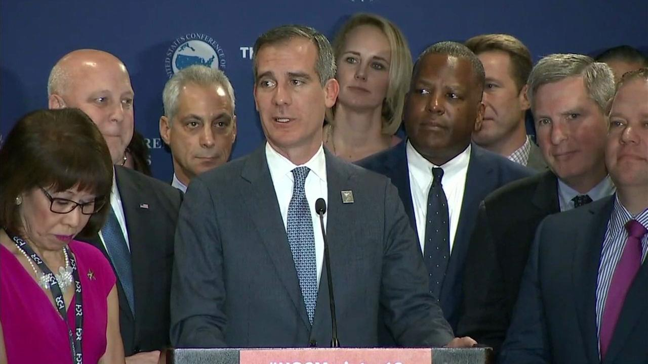 Los Angeles Mayor Eric Garcetti speaks during a press conference held by the U.S. Conference of Mayors.
