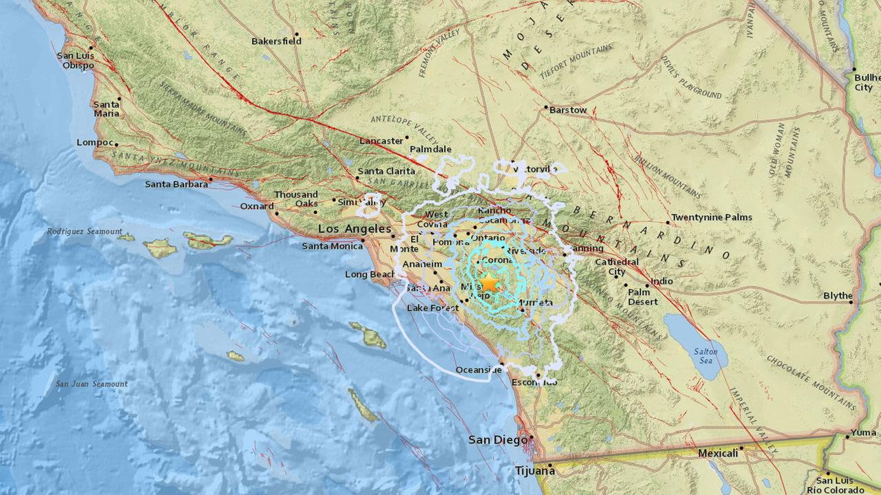 An earthquake with a preliminary magnitude of 4.0 hit near Lake Elsinore at 2:09 a.m. Thursday, Jan. 25, 2018, according to the U.S. Geological Survey.