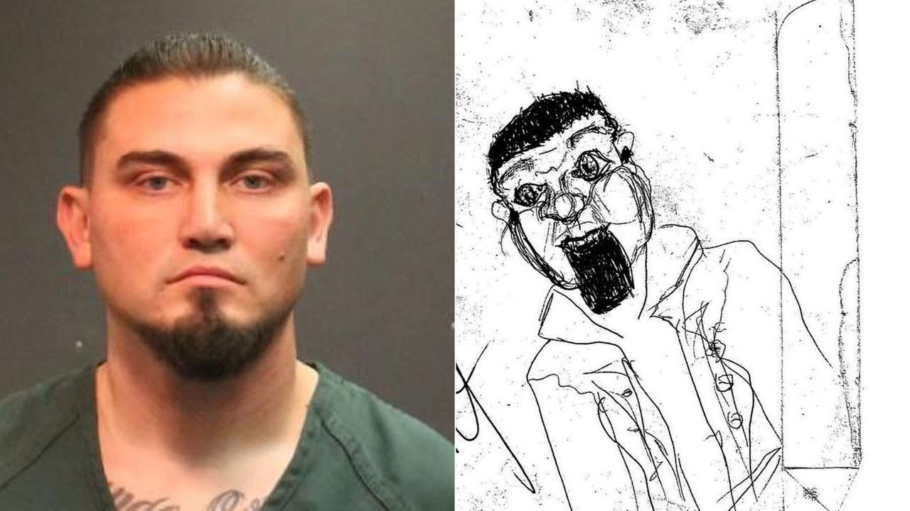 James Lawlor, 35, is shown in a mugshot alongside a sketch a victim he is suspected of assaulting drew of him for Santa Ana police.
