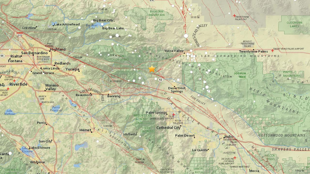 A U.S. Geological Survey map shows the epicenter of a 3.1-magnitude earthquake that struck near Morongo Valley on Thursday, Jan. 25, 2018.