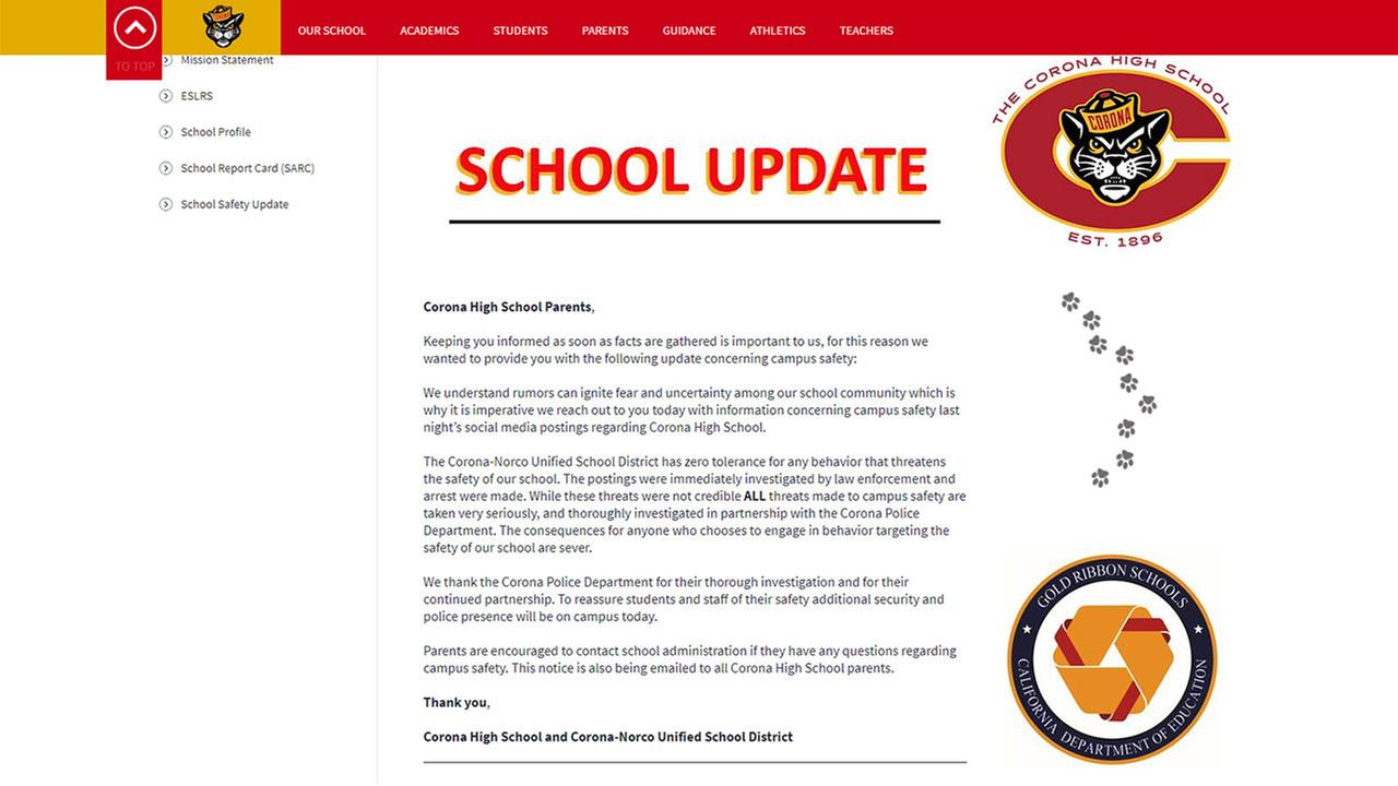 Corona-Norco Unified School District posted a message alerting parents to threats that had been made against the school