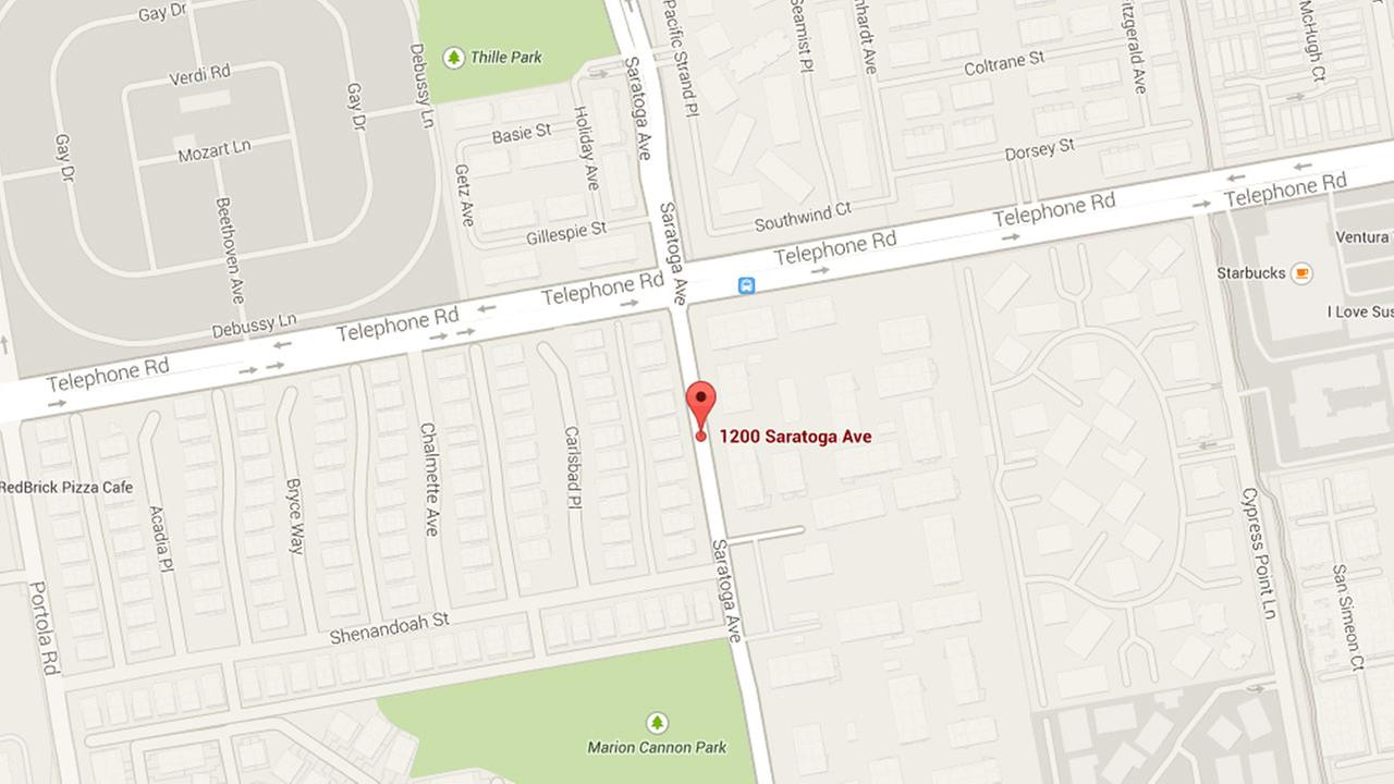 A Google Map shows the location of a stabbing in Ventura on Sunday, Sept. 7, 2014.
