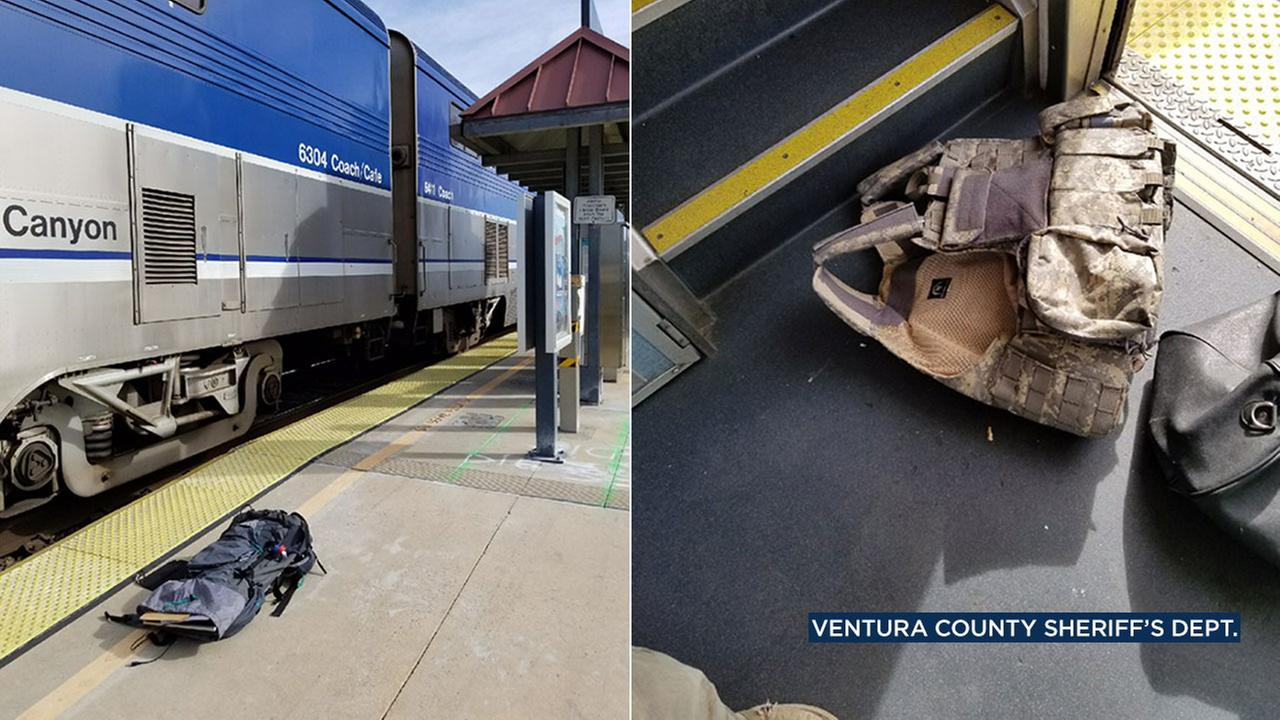 A man wearing this camouflage vest barricaded himself in an Amtrak train in Moorpark and was arrested for being under the influence.