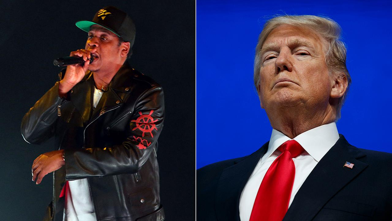 Jay-Z, left, performs on Tuesday, Nov. 14, 2017, in Atlanta. President Trump, right, prepares to deliver a speech to the World Economic Forum, Friday, Jan. 26, 2018, in Davos.