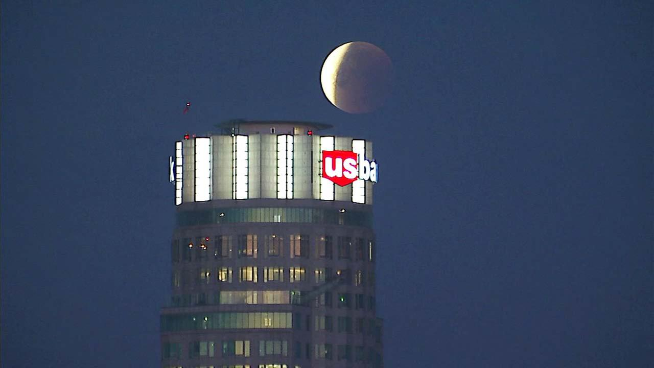 The super blue blood moon is seen from AIR7 HD on Wednesday, Jan. 31, 2018.
