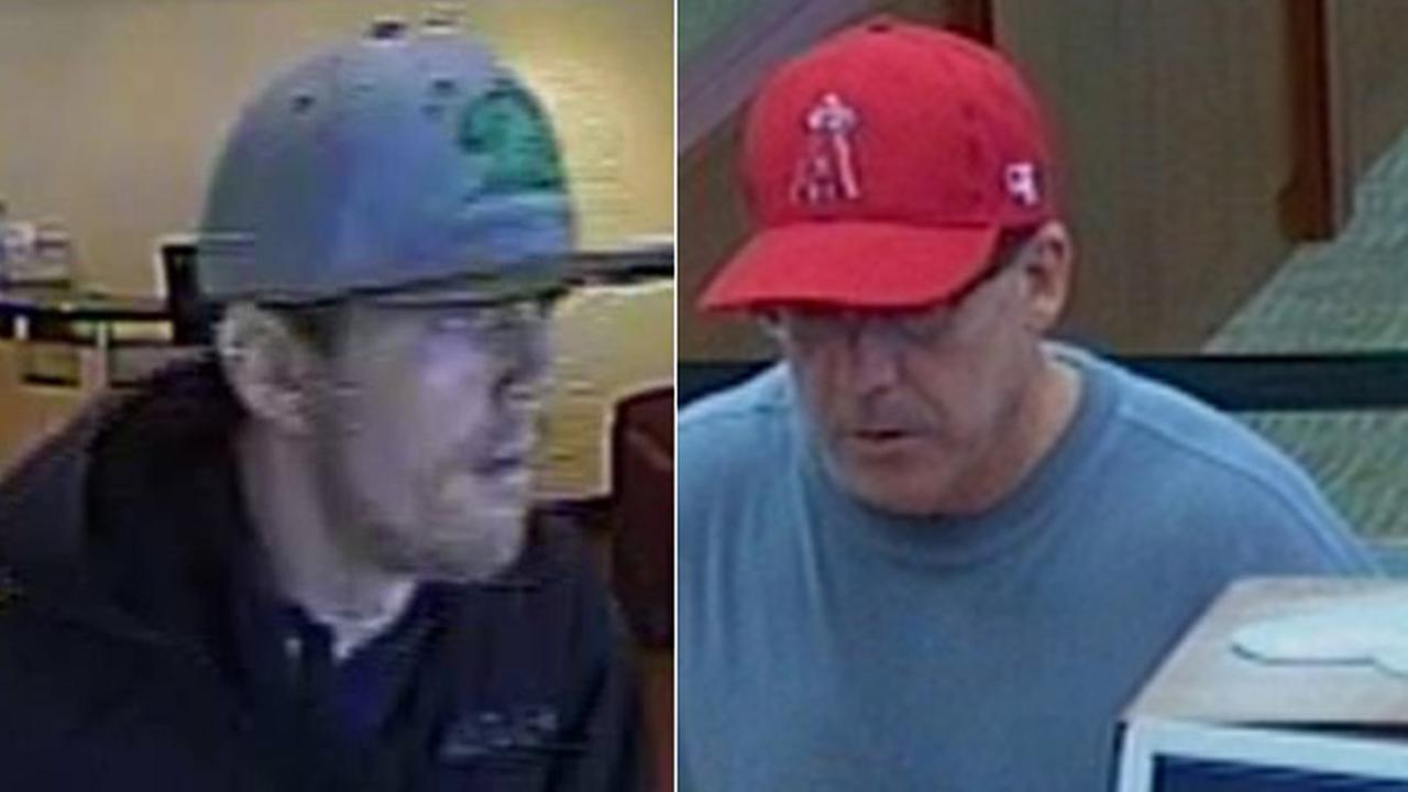 Left: The Cal Bear Bandit is seen at a Bank of America branch in Costa Mesa on Sept. 8, 2014. Right: The Hills Bandit is seen at a Union Bank in La Jolla on Sept. 8, 2014.