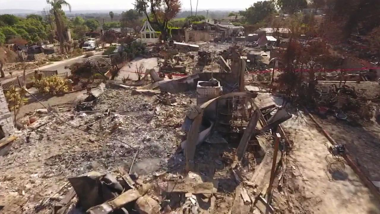 The ABC7 Drone showed the damage caused by the Thomas Fire to neighborhoods in Ventura.