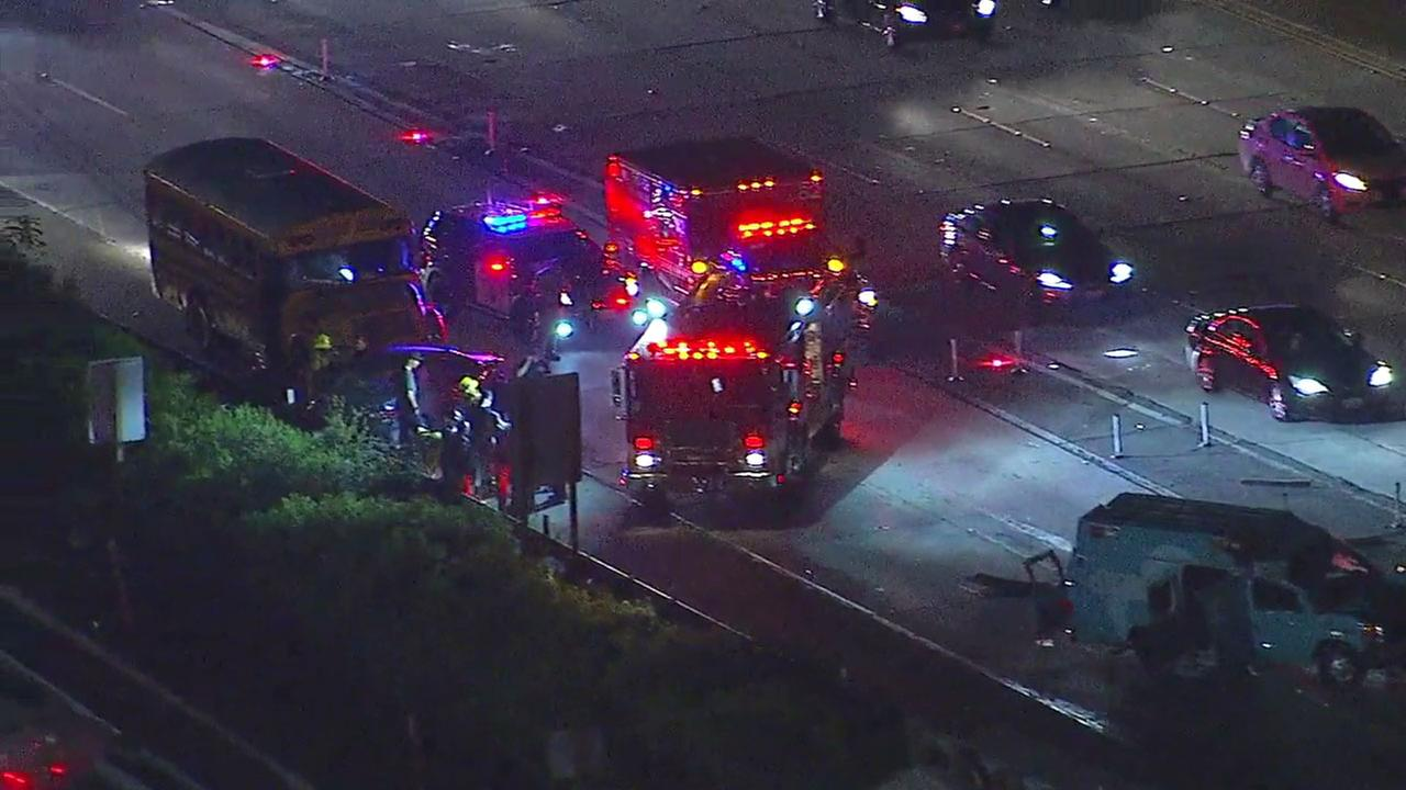 An ambulance, school bus and car were involved in a crash on the northbound 405 near the 10 connector Wednesday night.