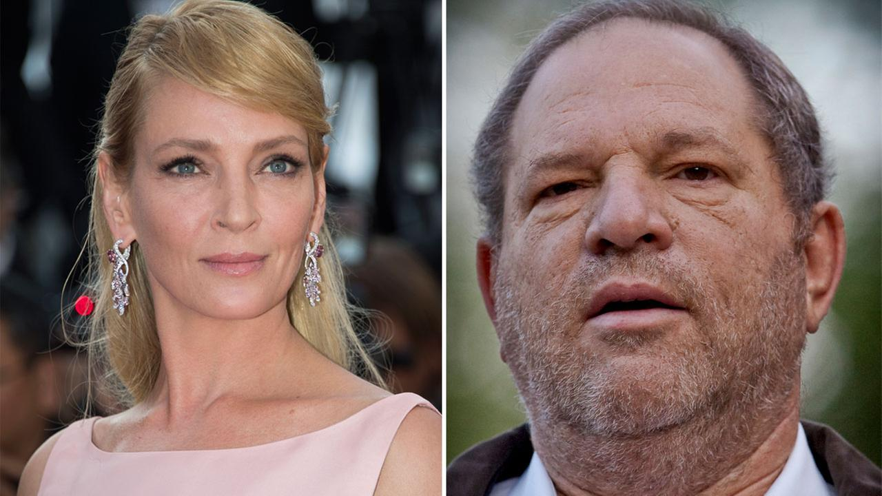 Uma Thurman at Cannes, southern France, Tuesday, May 23, 2017. FILE - This photo from Thursday, July 9, 2009 shows film producer Harvey Weinstein.