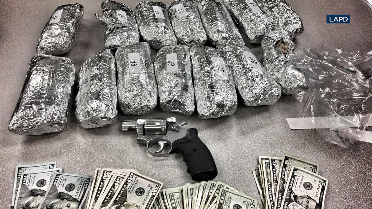 Police found 14 foil-wrapped packages of meth that resembled burritos in a car during a traffic stop in the Rampart area.