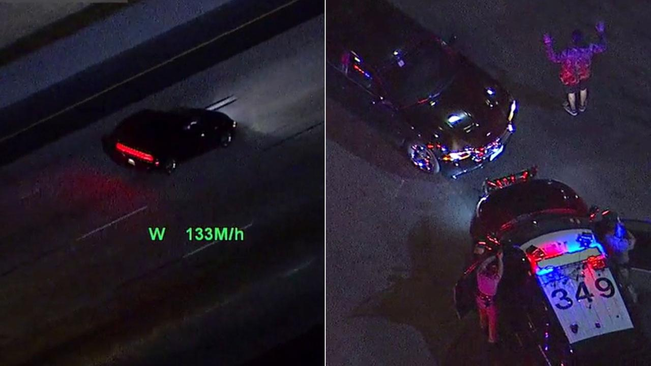 A chase suspect who traveled at speeds above 130 mph (left) was taken into custody by authorities (right) on Monday, Feb. 5, 2018.
