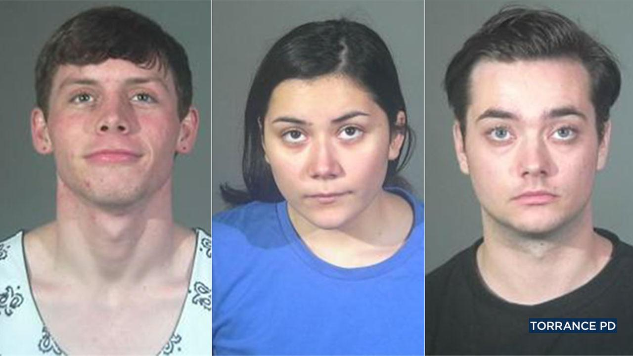Tyler Walters, Gabriella Semana and Lynn Johnson were arrested in a paintball attack that damaged the eye of a Torrance man.