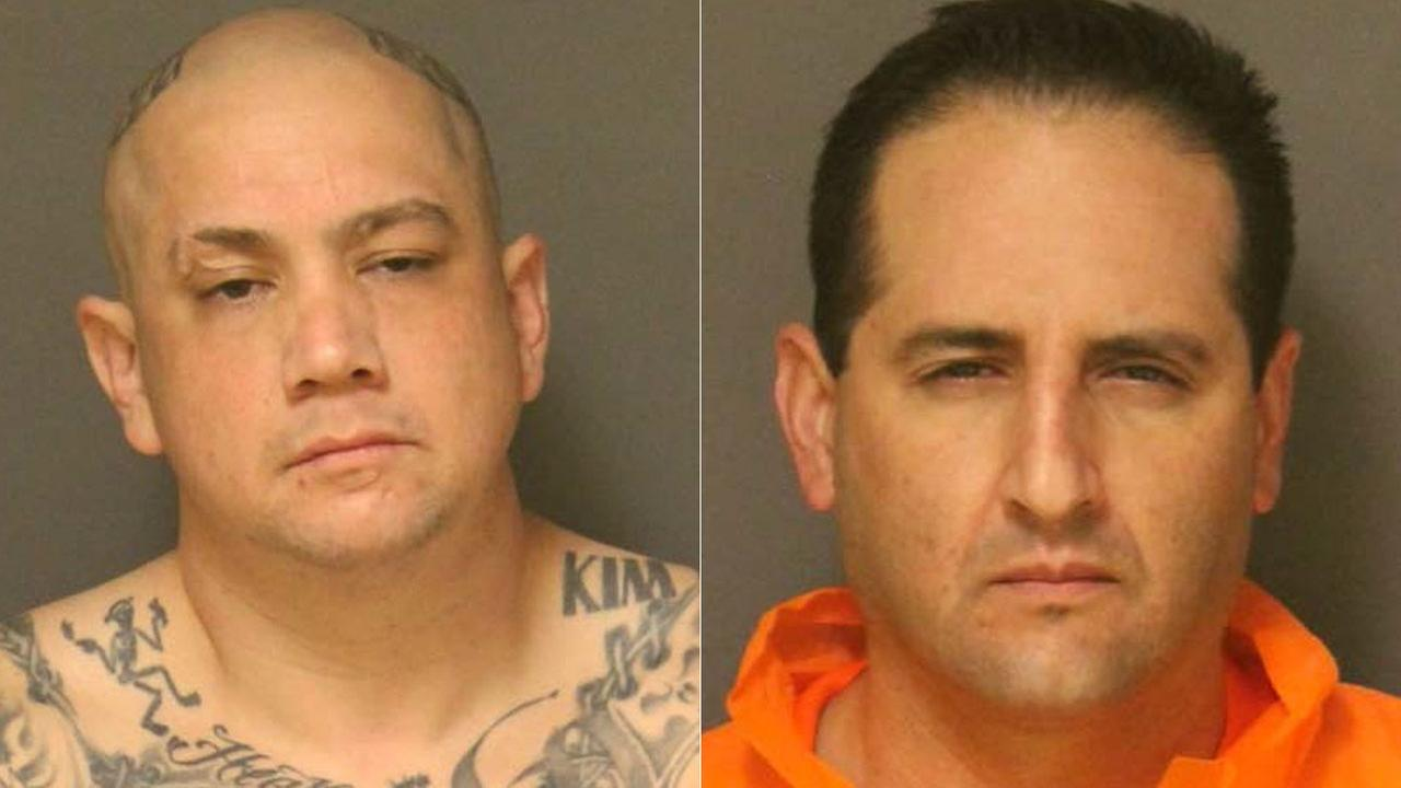 Suspects David Adame, (left) 39, of Santa Ana and Rafael Aldaco, 38, of Whittier were arrested in connection with stabbing at a Fullerton motel on Wednesday, Feb. 7, 2018.