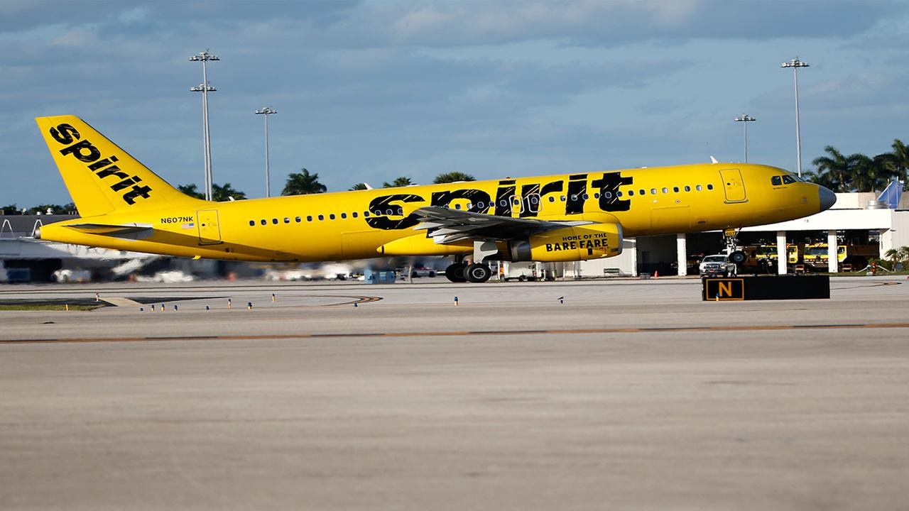 FILE- A Spirit Airlines Airbus Industrie A320 takes off from Palm Beach International Airport in West Palm Beach, Fla., Friday, Feb. 10, 2017.