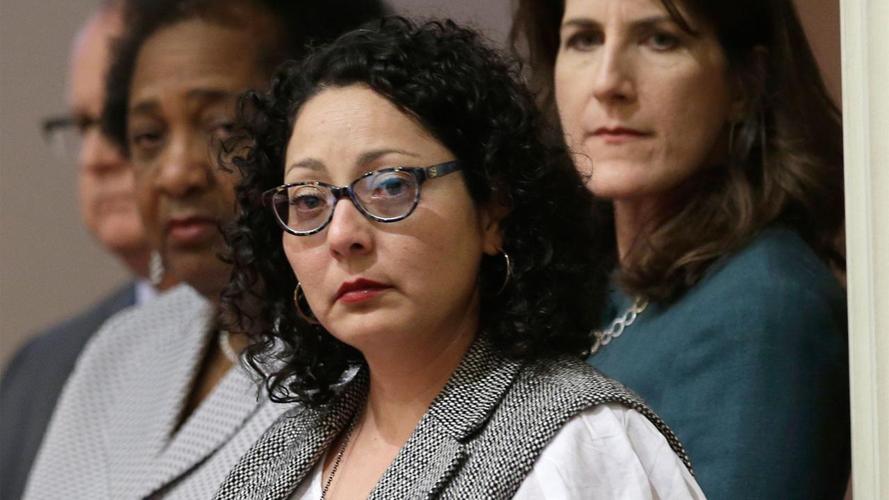 Cristina Garcia, D-Bell Gardens, listens as members of the womens caucus in the state Senate read a letter from the victim in the Stanford sex assault case Monday, June 13, 2016.