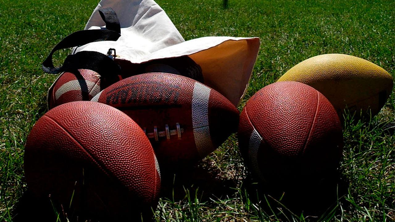 Footballs are pictured on a grass field in this file photo.