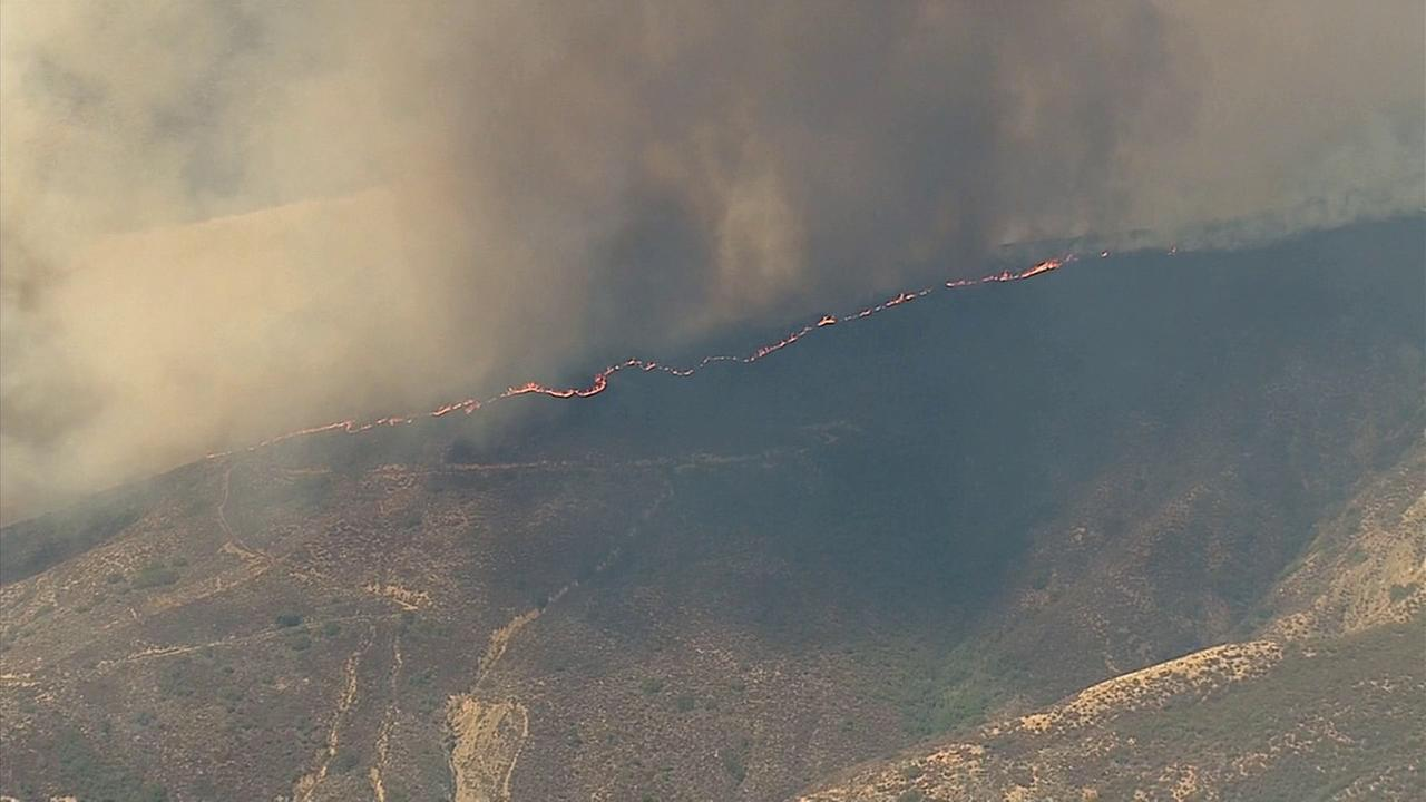 A brush fire erupted on the 30500 block of Silverado Canyon Friday, Sept. 12, 2014.