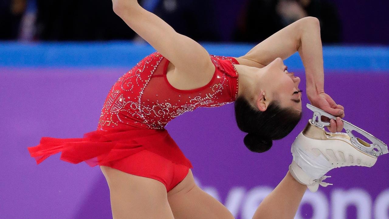 Mirai Nagasu performs in the ladies single skating free skating in the Gangneung Ice Arena at the 2018 Winter Olympics in Gangneung, South Korea, Monday, Feb. 12, 2018.