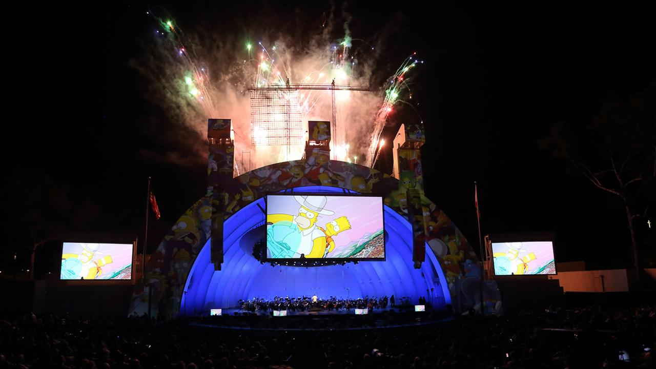 The cast of The Simpsons performs at the Simpsons Take The Bowl, which took place at the Hollywood Bowl in Hollywood, CA on Friday, September 12, 2014.