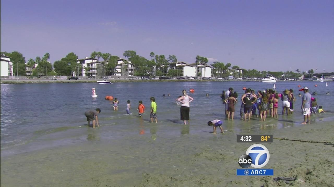 Southern California residents tried to stay cool Saturday, Sept. 13, 2014 under excessive heat and red flag warnings.