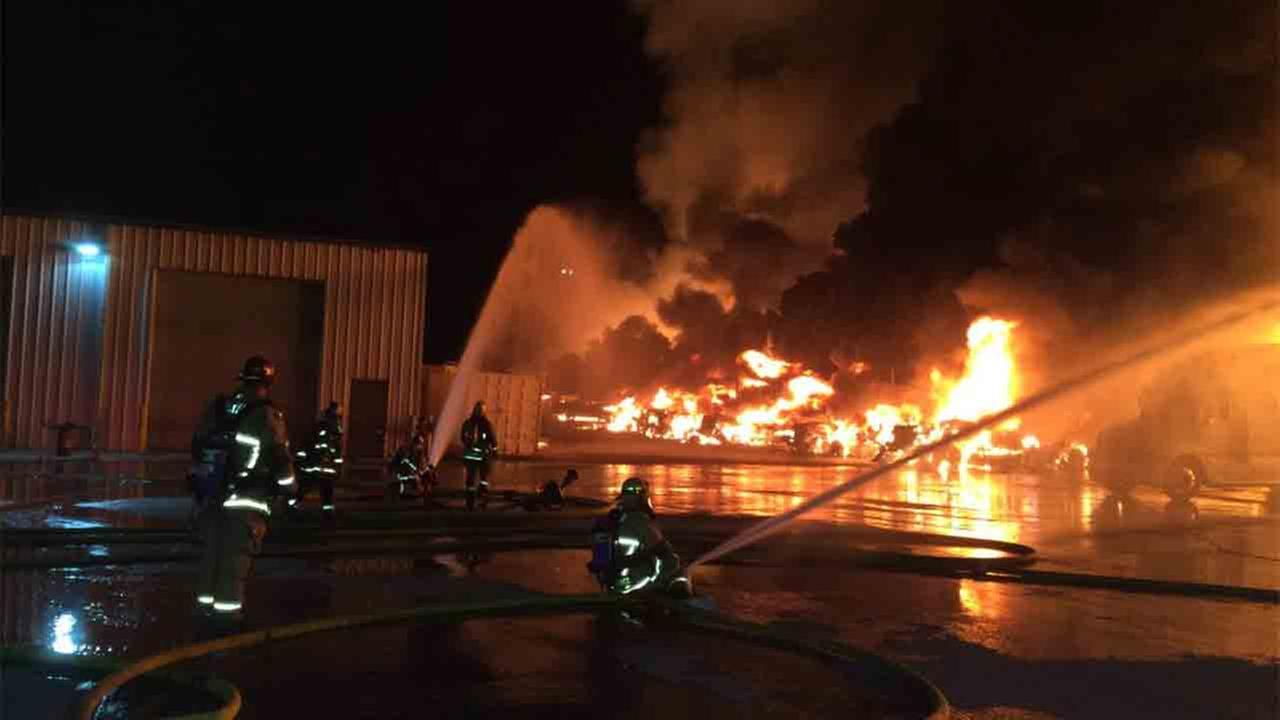 San Bernardino County firefighters responded to a fire at a pallet yard in the 13800 block of Slover Avenue in Fontana Sunday, Sept. 14, 2014.