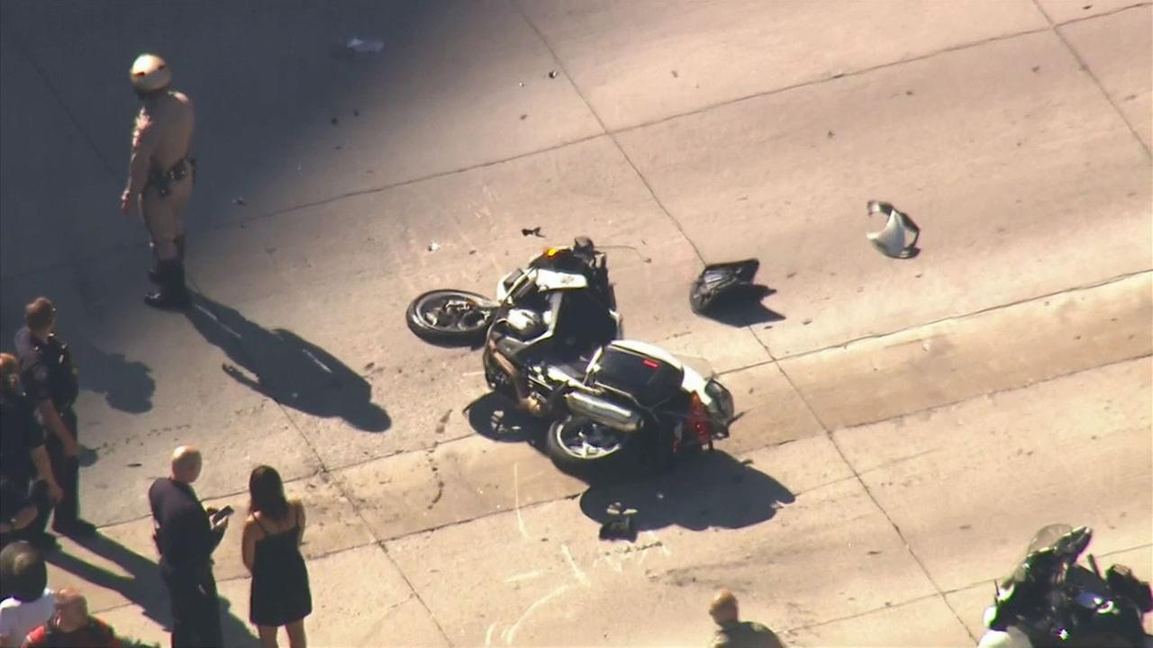 A CHP motorcycle officer was involved in an accident in Century City Monday, Sept. 15, 2014.