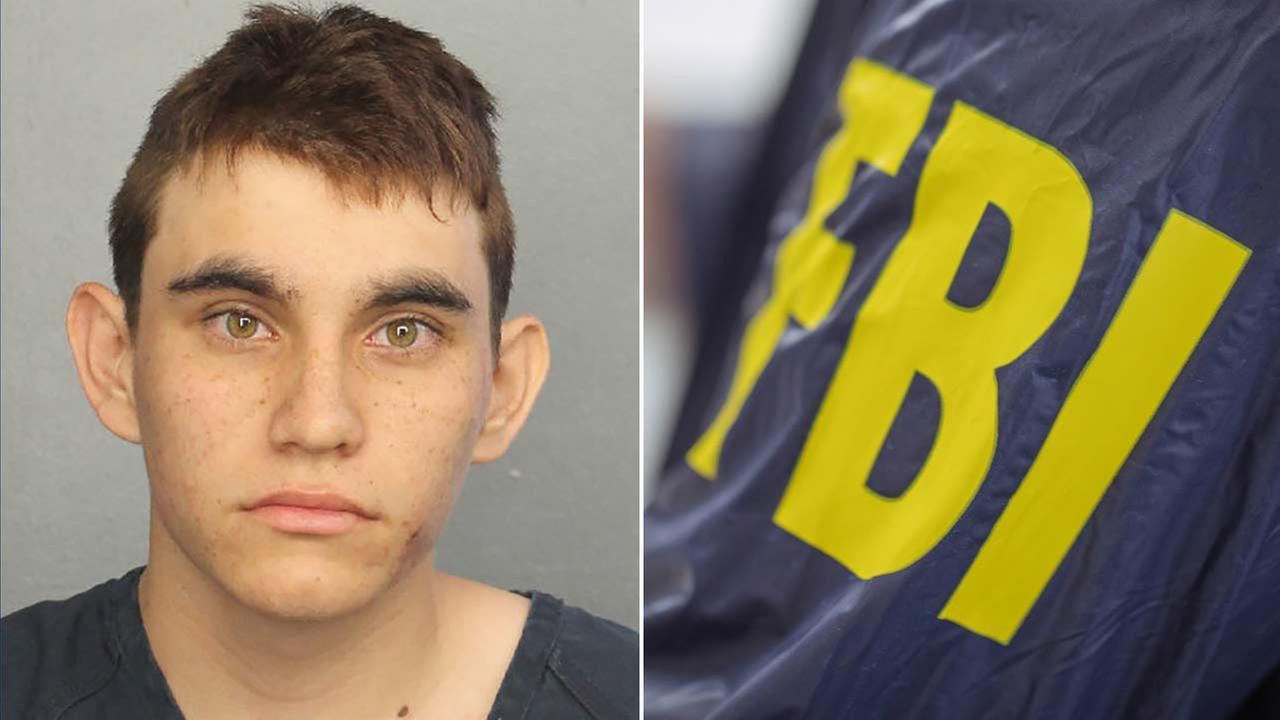 (Left) Nikolas Cruz is seen in a booking photo. (Right) A file photo shows an FBI sign on a jacket.