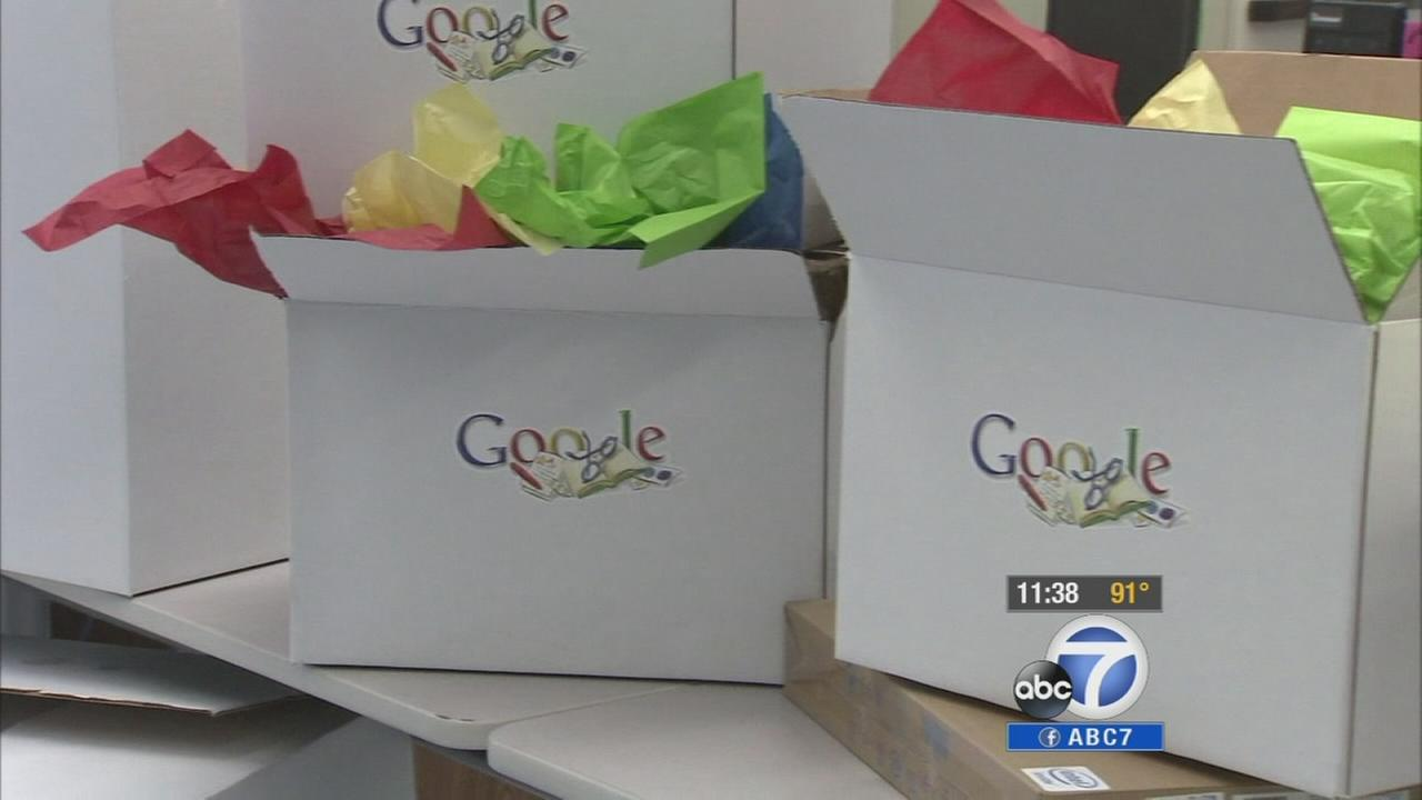 Google surprised hundreds of Los Angeles teachers Monday by donating pencils, books, printers and other school supplies that were on their wish lists.
