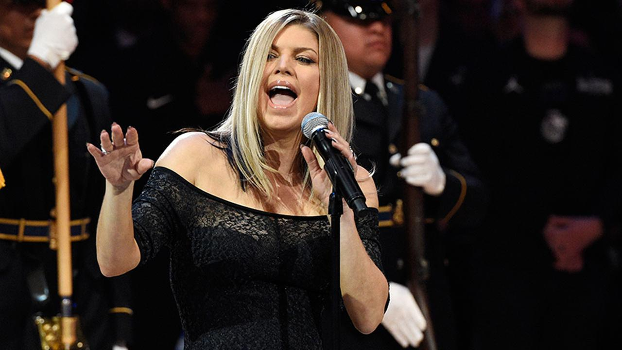Singer Fergie performs the national anthem prior to the NBA All-Star Game, Sunday, Feb. 18, 2018, at the Staples Center in Los Angeles.