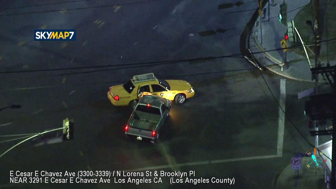 A robbery suspect T-boned a taxi in Boyle Heights while leading police on a wild chase through East L.A.