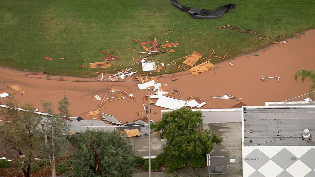 Elsinore High School on the 21800 block of Canyon Drive in Wildomar suffered damage to its athletic field due to flooding and high winds Tuesday, Sept. 16, 2014.