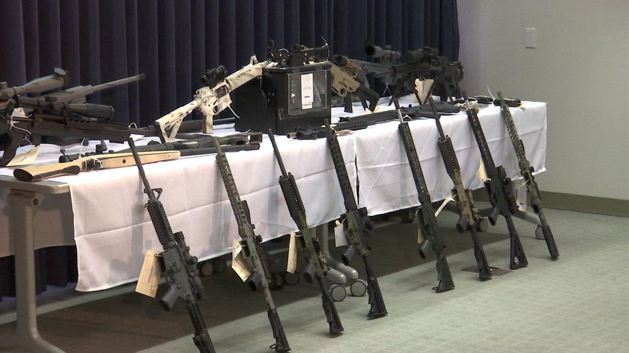 Authorities put on display a slew of assault weapons and ammunition that was found at a Temple City mans home.